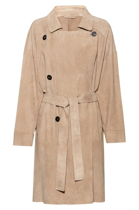 Double-breasted trench coat in suede with oversized lapels, Beige