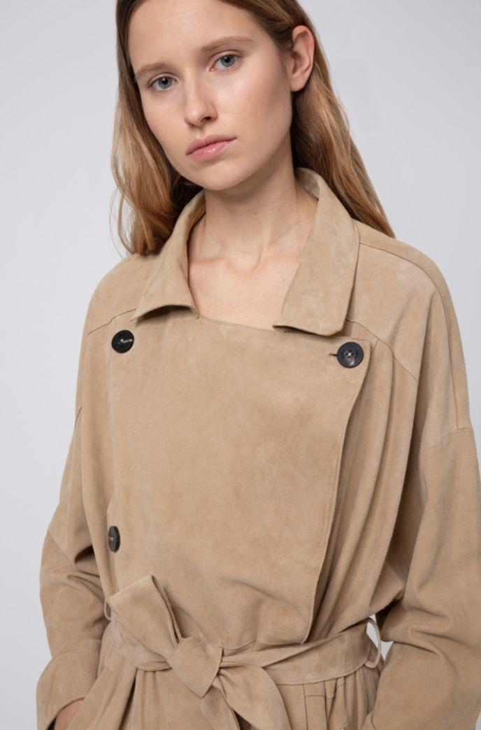 Zweireihiger Regular-Fit Trenchcoat aus Veloursleder mit Oversize-Revers