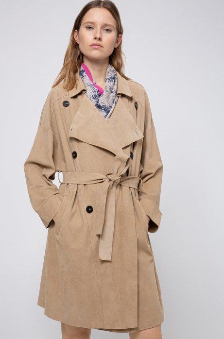 Zweireihiger Regular-Fit Trenchcoat aus Veloursleder mit Oversize-Revers, Beige