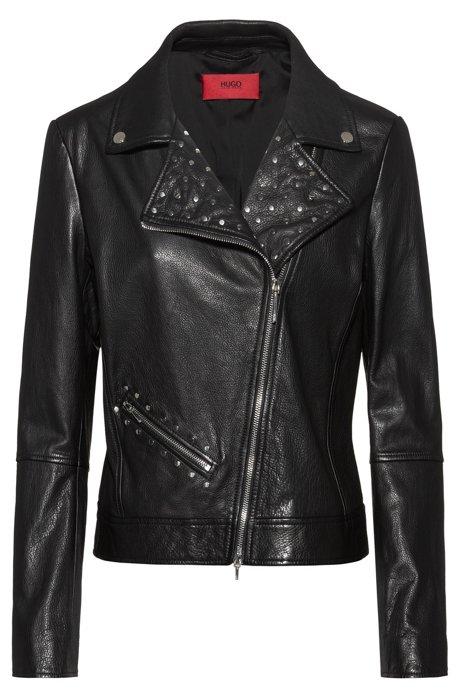 Biker jacket in calf leather with stud detailing, Black