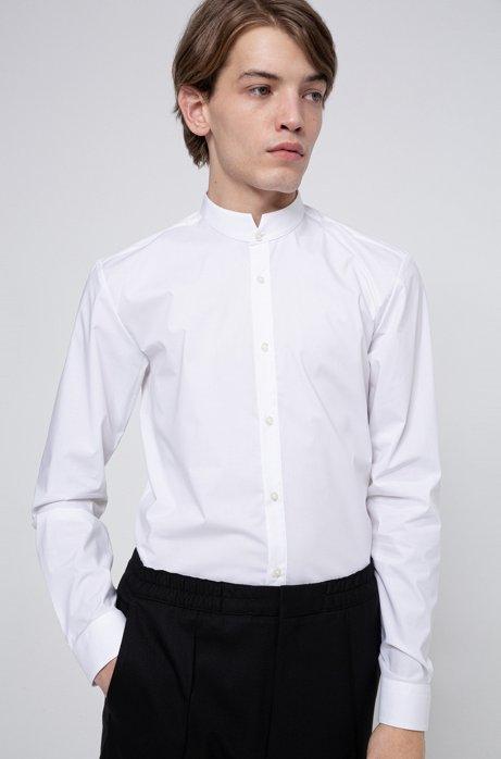 Extra slim-fit overhemd van gemakkelijk te strijken katoenen canvas, Wit