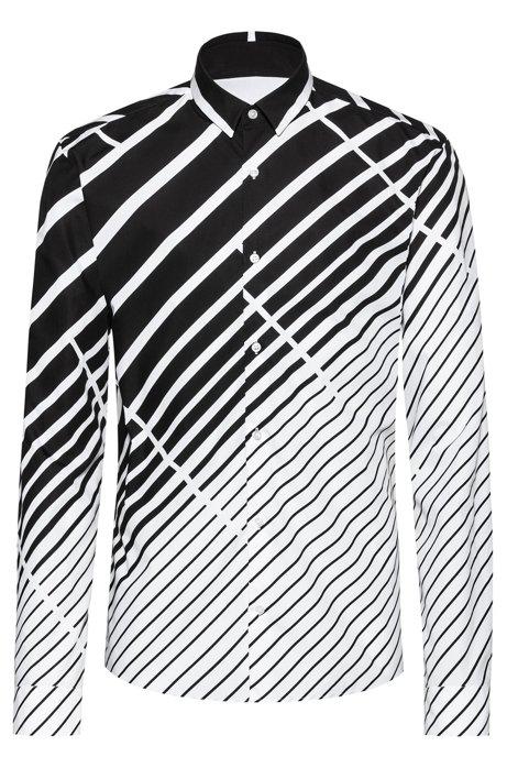 Chemise Extra Slim Fit en coton à rayures diagonales en dégradé, Fantaisie
