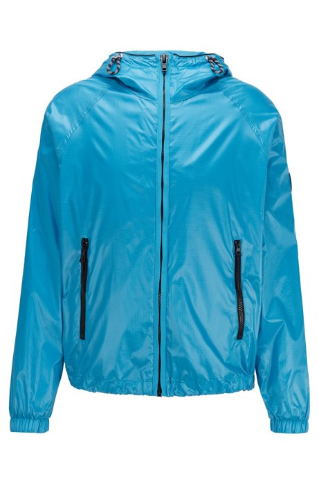 Regular-fit windbreaker in ripstop fabric with glossy finish, Turquoise