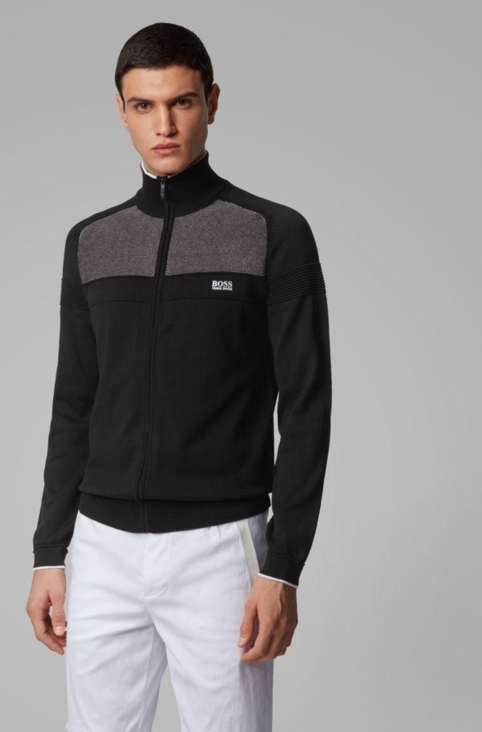 Cardigan in maglia in misto cotone elasticizzato con zip integrale