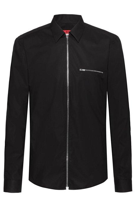 Camicia extra slim fit in cotone elasticizzato con zip integrale, Nero