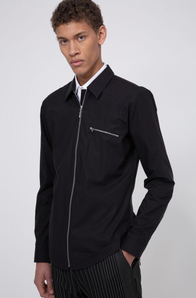 Extra Slim-Fit Hemd aus Stretch-Baumwolle mit Reißverschluss