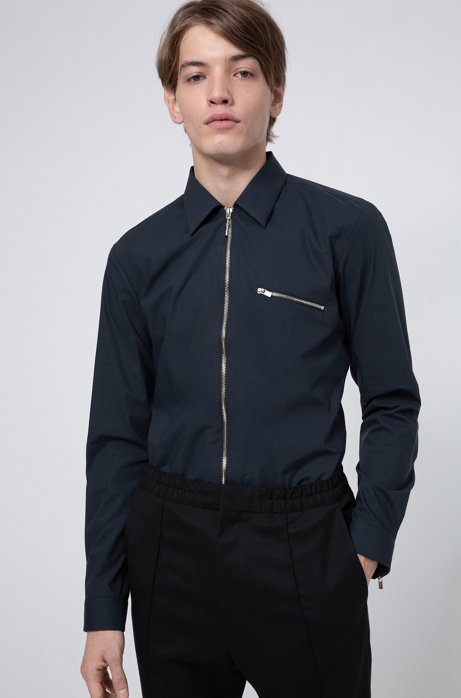 Chemise Extra Slim Fit en coton stretch, avec fermeture éclair, Bleu foncé