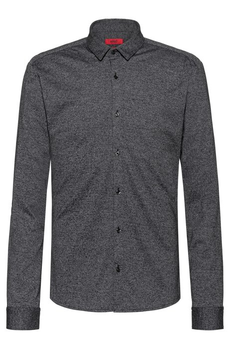 Extra-slim-fit shirt in textured cotton jersey, Grey