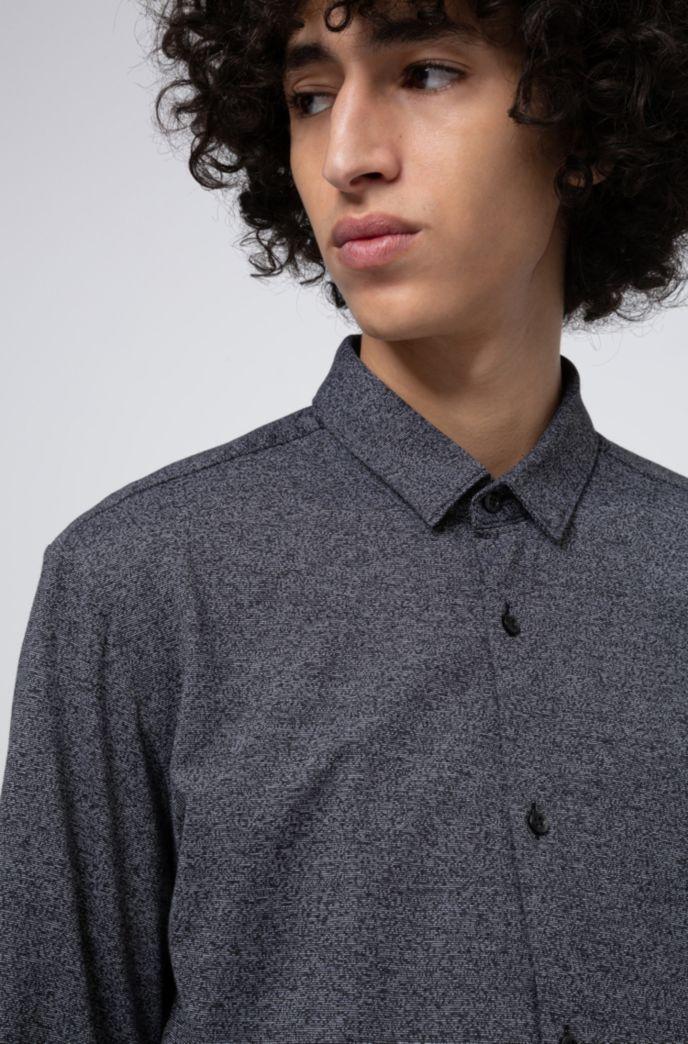 Extra Slim-Fit Hemd aus strukturiertem Baumwoll-Jersey