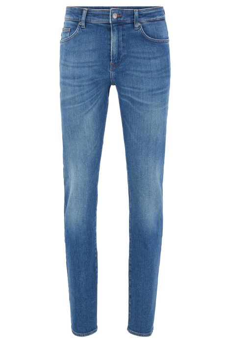 Jeans slim fit in denim blu medio, Blu