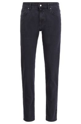 Tapered-fit jeans van zwart double-stretchdenim, Donkerblauw