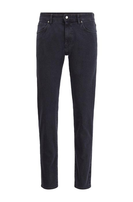 Tapered-fit jeans in black double-stretch denim, Dark Blue