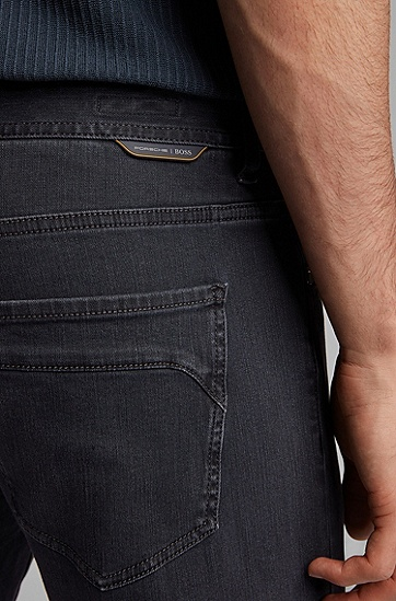 Porsche x BOSS联名款男士黑色双面弹力牛仔布铅笔牛仔裤,  406_暗蓝色