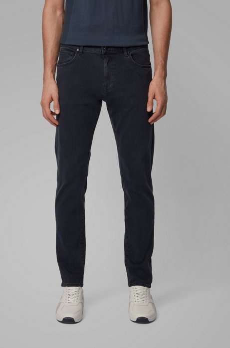 Tapered-fit jeans van zwart double-stretchdenim, Donkerblauw