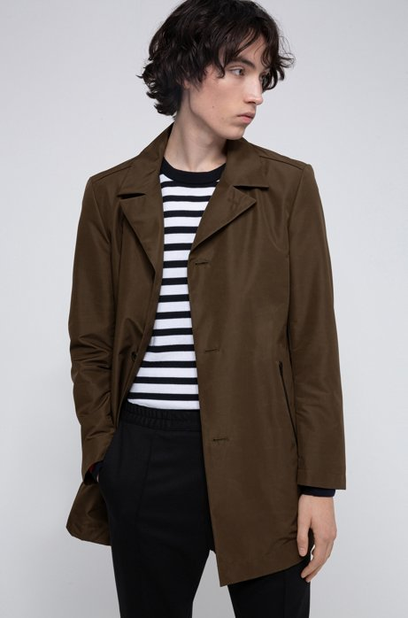 Water-repellent coat with logo-print lining, Khaki
