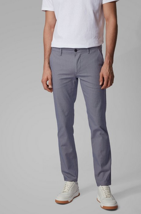Slim-fit trousers in two-tone stretch cotton, Grey
