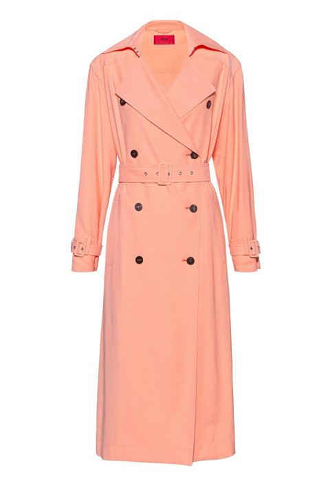 Double-breasted trench coat with oversized lapels, Light Orange
