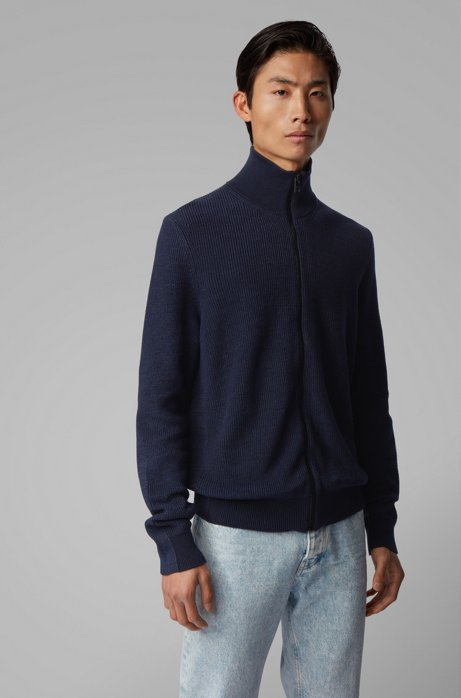 Zip-through knitted jacket in cotton and linen, Dark Blue