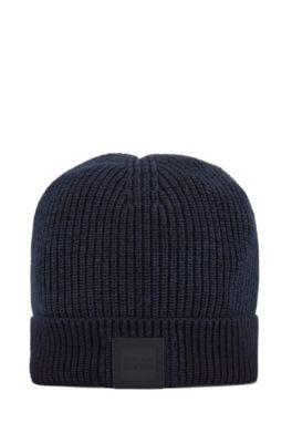 Mütze aus Baumwolle und Leinen mit Logo, Dunkelblau