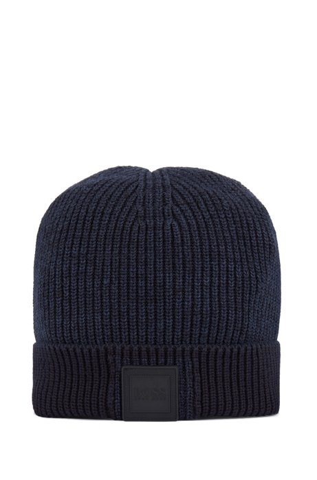 Logo beanie hat in cotton and linen, Dark Blue