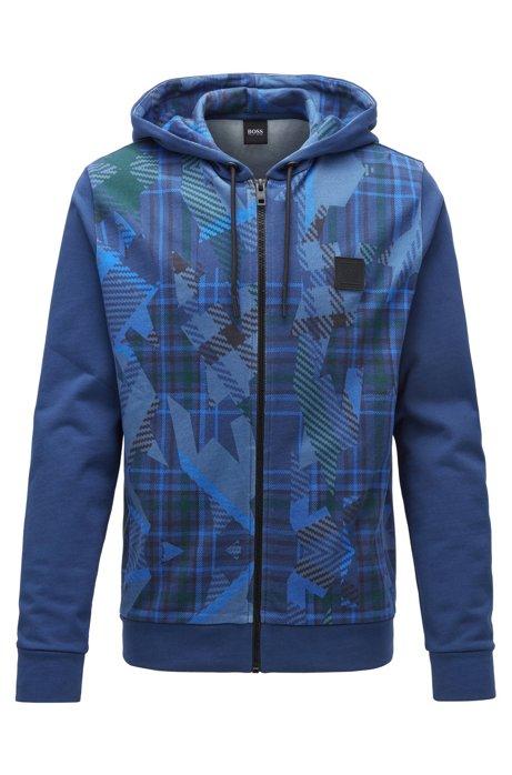 Cazadora con capucha en felpa de rizo con estampado de algoritmo, Azul oscuro
