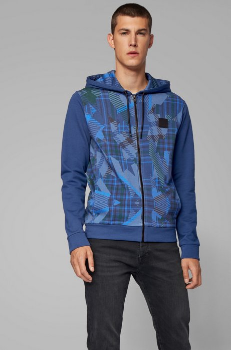 Hooded jacket in French terry with algorithm print, Dark Blue