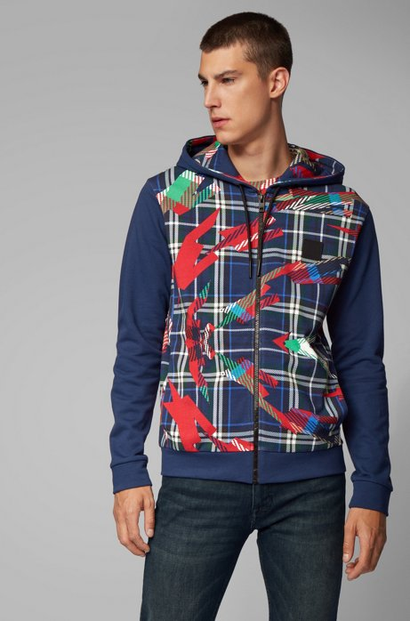 Hooded jacket in French terry with algorithm print, Blue