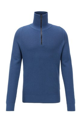 Zip-neck sweater in cotton with half-cardigan rib, Dark Blue