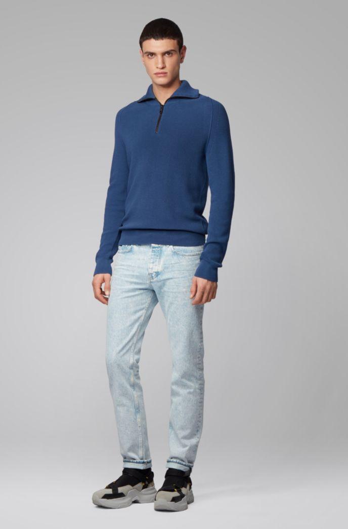 Pullover aus Baumwolle mit Perlfangmuster und Troyerkragen