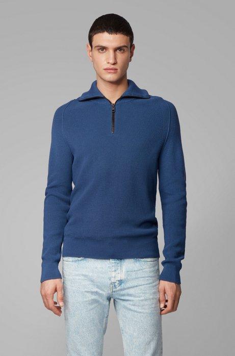 Pullover aus Baumwolle mit Perlfangmuster und Troyerkragen, Dunkelblau