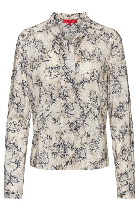 Slim-fit blouse with bow-tie collar, Patterned