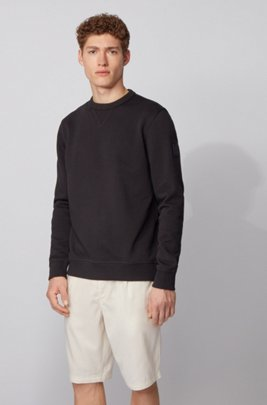 Relaxed-fit sweatshirt in cotton terry with sleeve logo, Black
