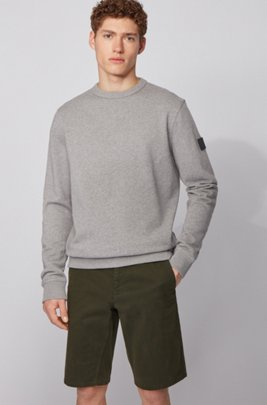 Relaxed-fit sweatshirt in cotton terry with sleeve logo, Light Grey