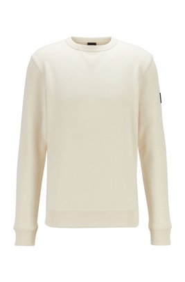 Relaxed-fit sweatshirt in cotton terry with sleeve logo, Light Beige