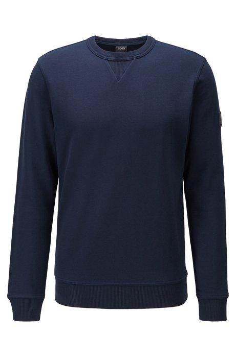 Sudadera relaxed fit en felpa de algodón con logo en la manga, Azul oscuro