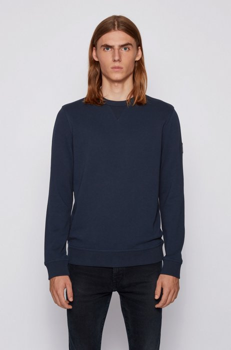 Relaxed-fit sweatshirt in cotton terry with sleeve logo, Dark Blue
