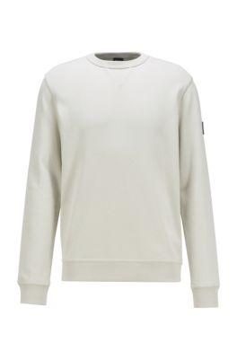 Sweatshirt aus Baumwoll-Terry mit Logo am Ärmel, Weiß