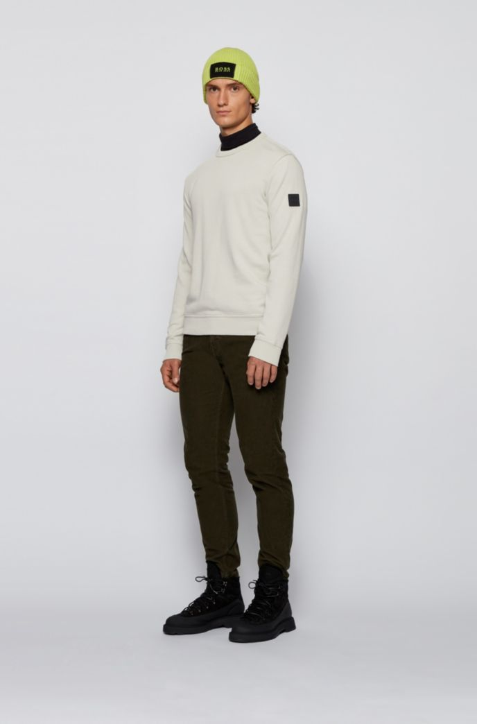Relaxed-fit sweatshirt in cotton terry with sleeve logo