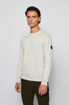 Relaxed-fit sweatshirt in cotton terry with sleeve logo, White