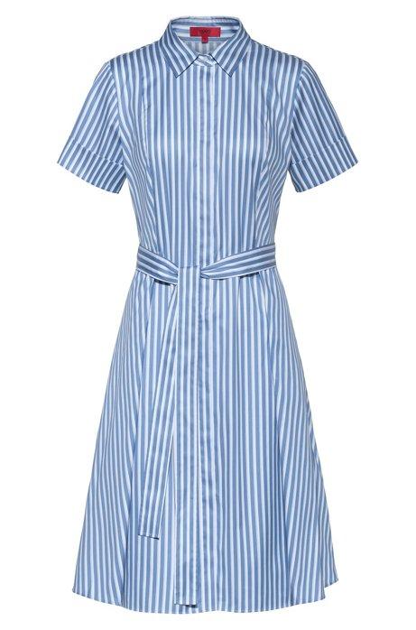 Robe-chemise Slim Fit en twill de coton à rayures, Bleu vif