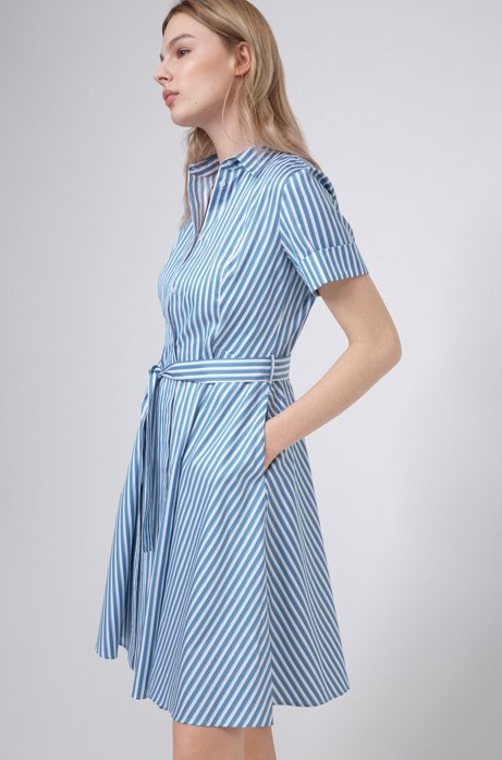 Slim-fit shirt dress in striped cotton twill, Light Blue