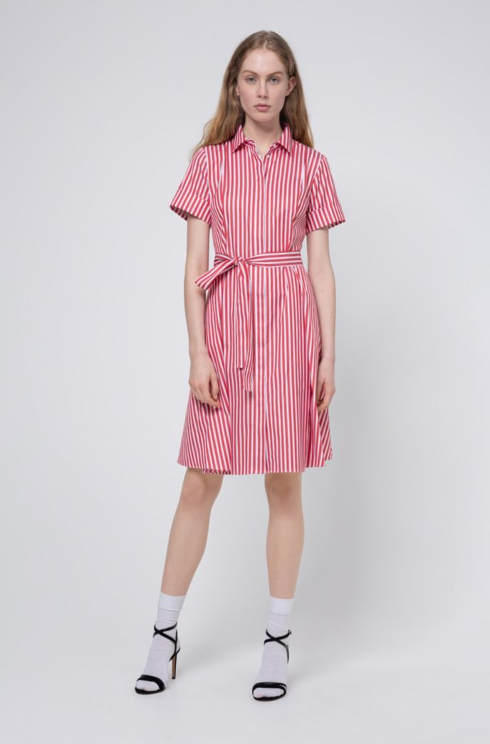 Slim-fit shirt dress in striped cotton twill