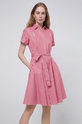 Slim-fit shirt dress in striped cotton twill, Red