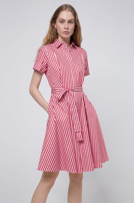 Hemdblusenkleid aus gestreiftem Baumwoll-Twill, Rot
