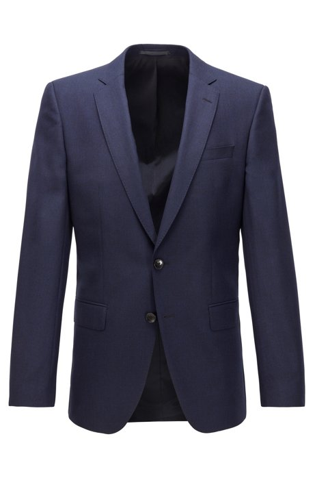 Slim-fit jacket in melange virgin wool, Dark Blue