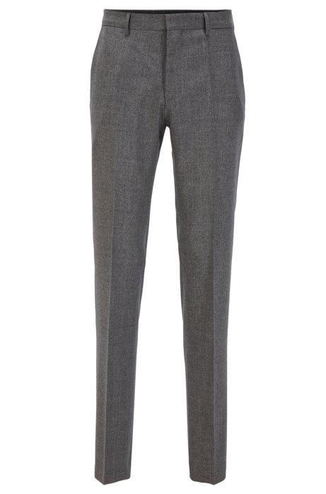 Slim-fit trousers in melange virgin wool, Grey