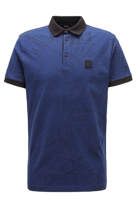Cotton polo shirt with algorithm-script print, Dark Blue