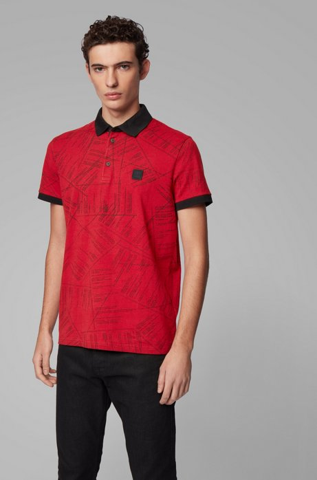 Cotton polo shirt with algorithm-script print, Red