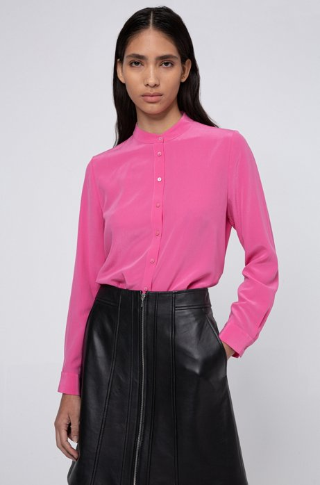 Lightweight blouse in sand-washed silk chiffon, Pink