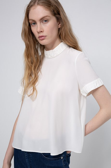 Sand-washed silk blouse with button-through back, White